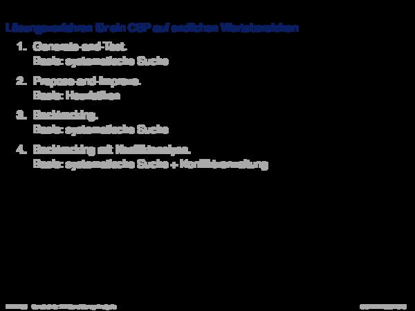 Konsistenzanalyse Lösungsverfahren für ein CSP auf endlichen Wertebereichen