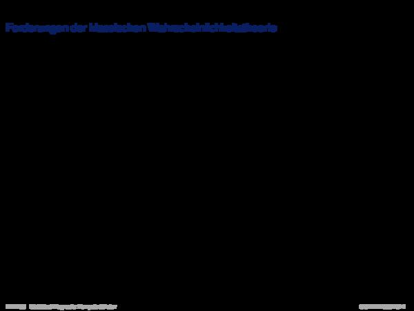 Evidenztheorie von Dempster/Shafer Forderungen der klassischen Wahrscheinlichkeitstheorie