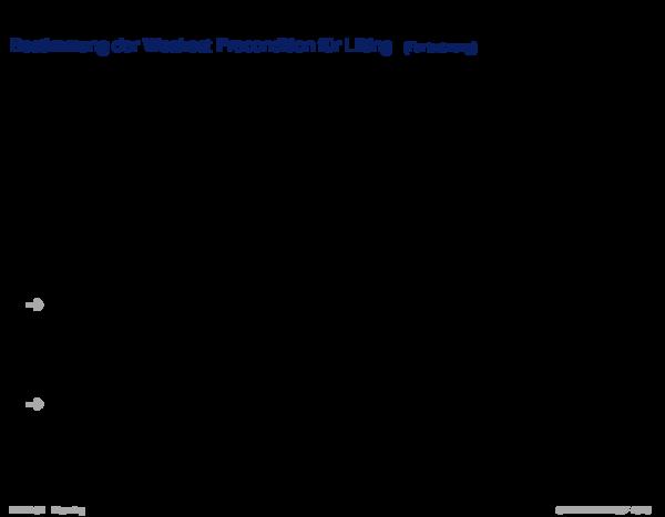 Suche im Zustandsraum Bestimmung der Weakest Precondition für Lifting