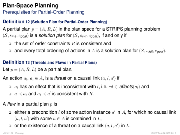 Plan-Space Planning Prerequisites for Partial-Order Planning