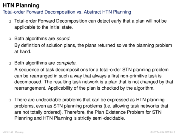 HTN Planning Total-order Forward Decomposition vs. Abstract HTN Planning