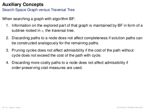 Auxiliary Concepts Search Space Graph versus Traversal Tree