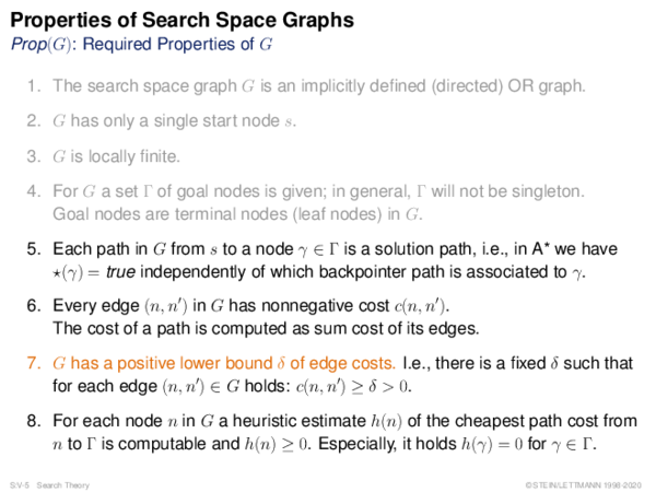 Properties of Search Space Graphs Prop(G): Required Properties of G