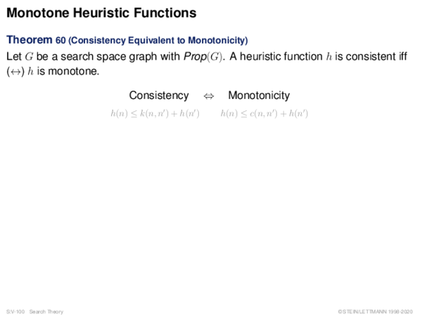 Monotone Heuristic Functions Theorem 60 (Consistency Equivalent to Monotonicity)