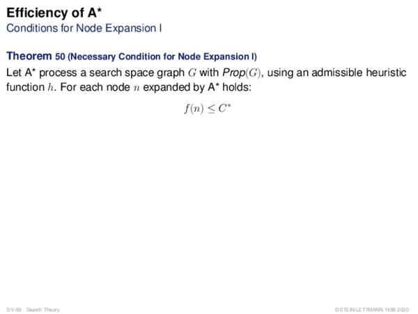Efficiency of A* Conditions for Node Expansion I