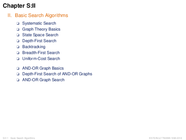 Chapter S:II II. Basic Search Algorithms
