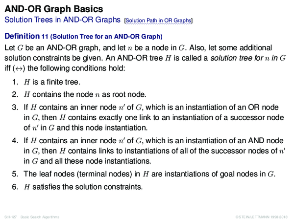 AND-OR Graph Basics Solution Trees in AND-OR Graphs