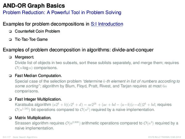 AND-OR Graph Basics Problem Reduction: A Powerful Tool in Problem Solving
