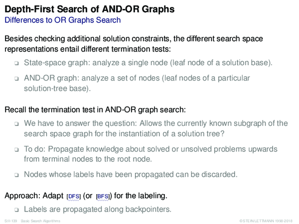 Depth-First Search of AND-OR Graphs Differences to OR Graphs Search