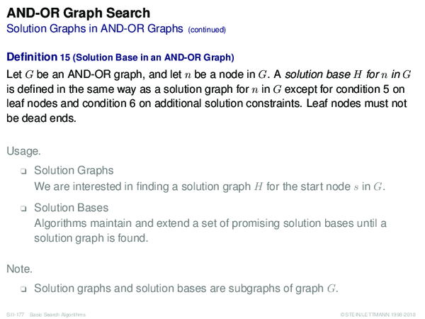 AND-OR Graph Search Solution Graphs in AND-OR Graphs