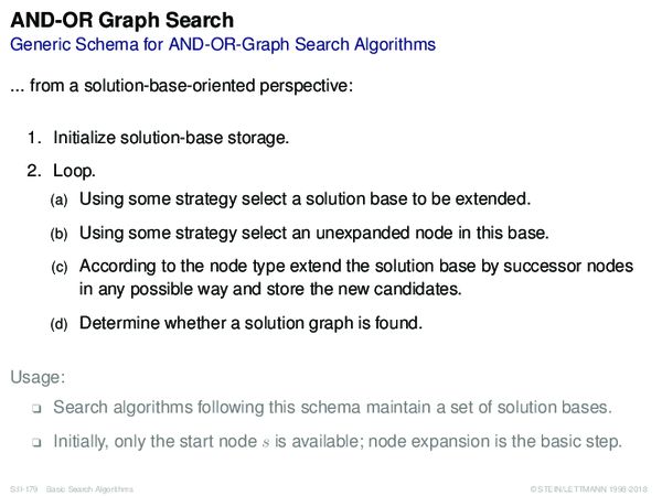AND-OR Graph Search Generic Schema for AND-OR-Graph Search Algorithms