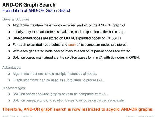 AND-OR Graph Search Foundation of AND-OR Graph Search