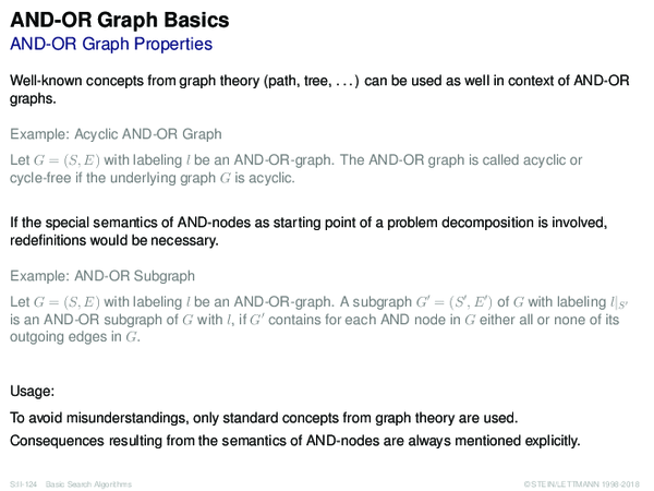 AND-OR Graph Basics AND-OR Graph Properties