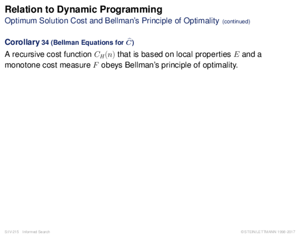Relation to Dynamic Programming Optimum Solution Cost and Bellman's Principle of Optimality