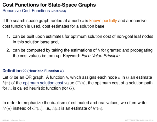 Cost Functions If the search space graph rooted at a node s is known partially, the optimum