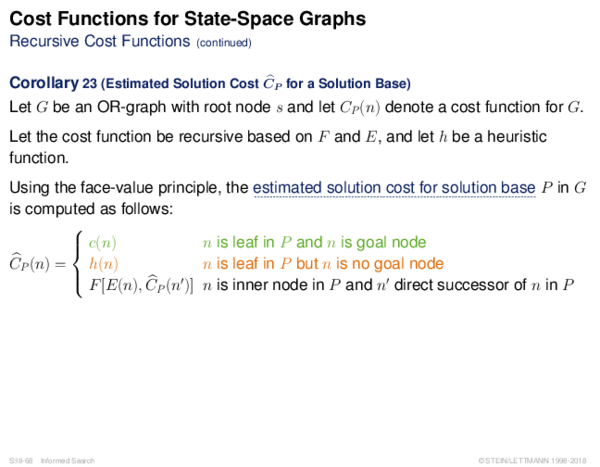 Cost Functions Recursive Cost Functions