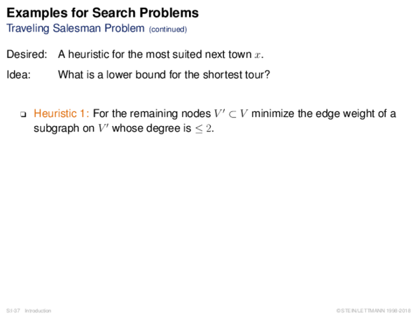 Examples for Search Problems Traveling Salesman Problem