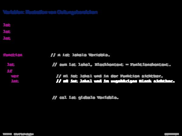 JavaScript Variablen: Illustration von Geltungsbereichen