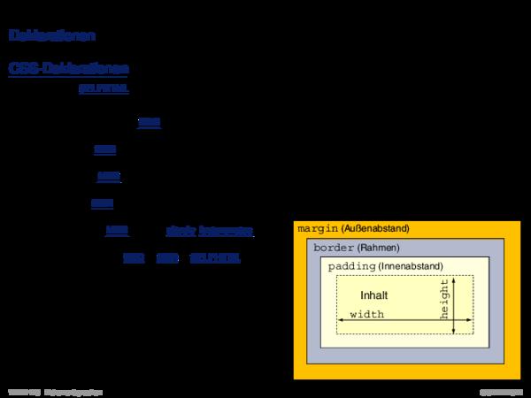 Cascading Stylesheets CSS Deklarationen