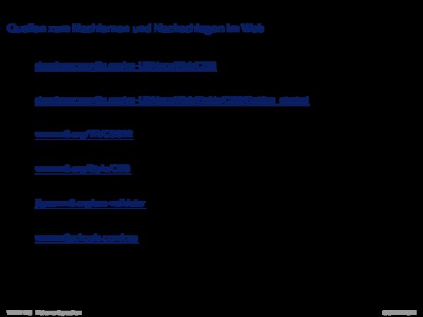 Cascading Stylesheets CSS Quellen zum Nachlernen und Nachschlagen im Web