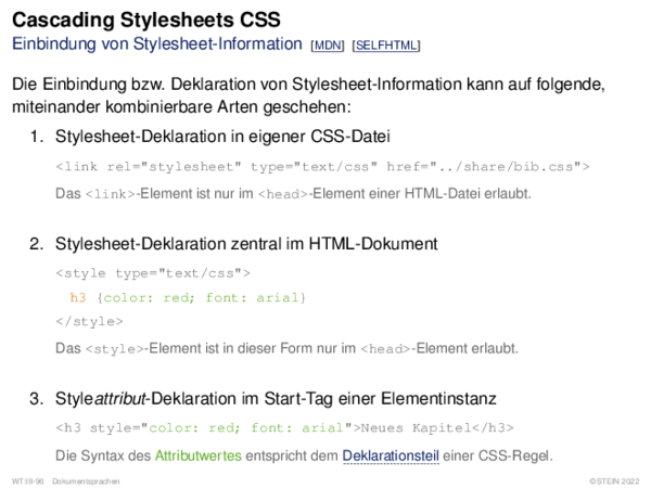 Cascading Stylesheets CSS Einbindung von Stylesheet-Information