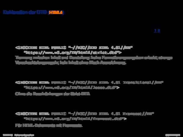 HTML Deklaration der DTD (HTML4)