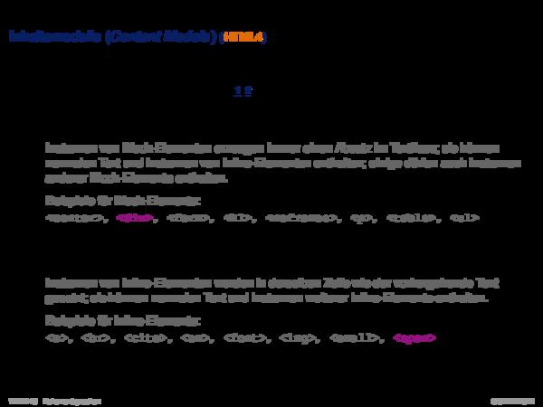 HTML Inhaltsmodelle (Content Models) (HTML4)