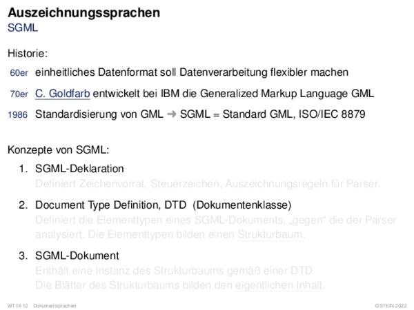 Auszeichnungssprachen SGML Dokumentenverarbeitung