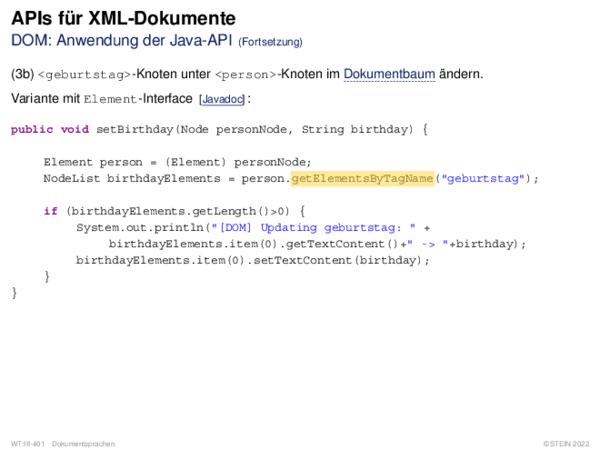 APIs für XML-Dokumente DOM: Anwendung