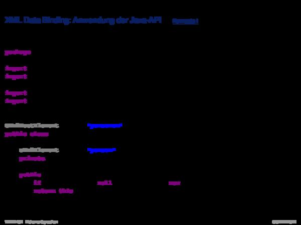 APIs für XML-Dokumente XML Data Binding: Konzepte II