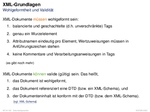 XML-Grundlagen Wohlgeformtheit und Validität