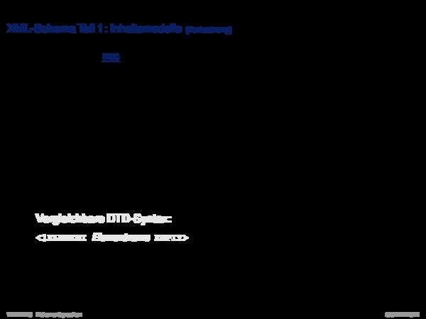 XML-Schema XML-Schema Teil 1: Inhaltsmodelle