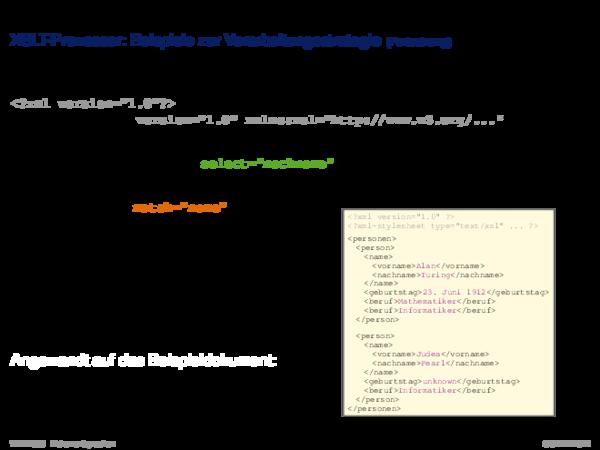 Die XSL-Familie XSLT-Prozessor: Beispiele zur Verarbeitungsstrategie
