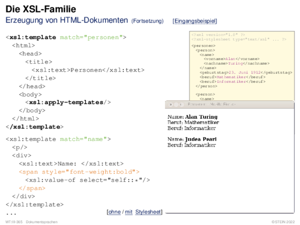 Die XSL-Familie Erzeugung von HTML-Dokumenten: Zusammenspiel mit CSS