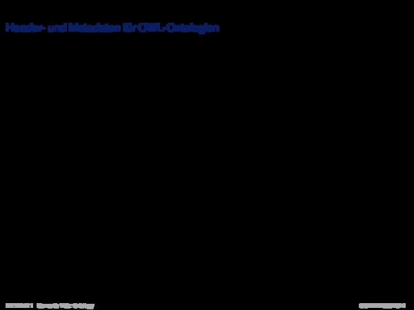 OWL: Konzepte Header- und Metadaten für OWL-Ontologien