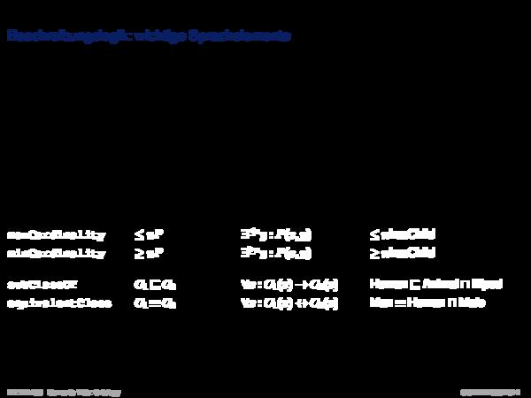 OWL: Logikhintergrund Beschreibungslogik: wichtige Sprachelemente