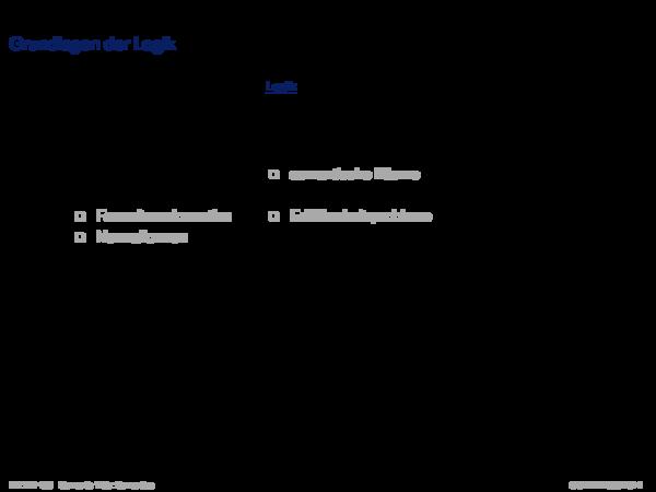 Semantik von RDF/RDFS Grundlagen der Logik