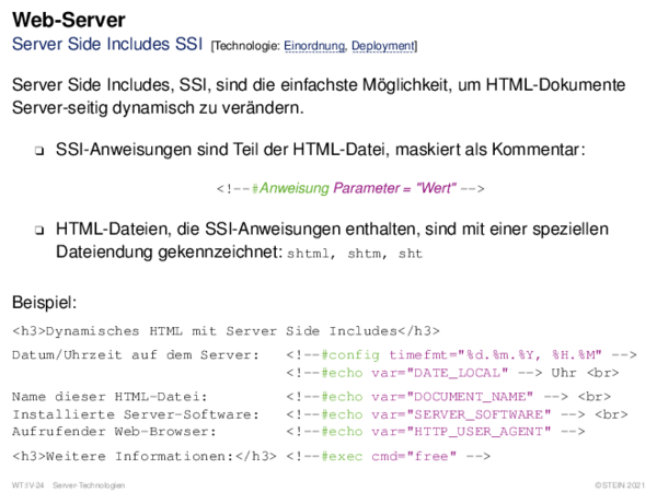 Web-Server Server Side Includes SSI