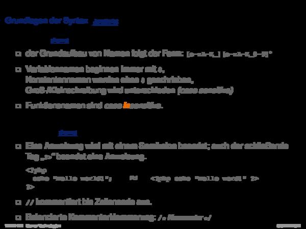 PHP Hypertext Preprocessor Variablen
