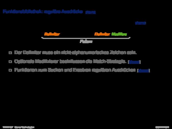 PHP Hypertext Preprocessor Funktionsbibliothek: reguläre Ausdrücke
