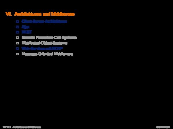 Tutorial zu Kapitel WT:VI VI. Architekturen und Middleware-Technologien