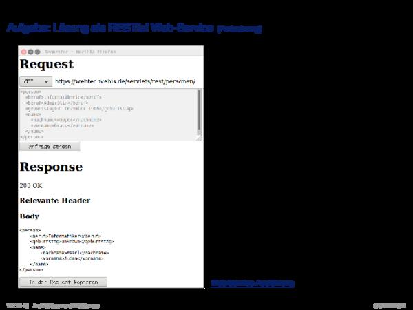 REST Aufgabe: Lösung als RESTful Web-Service