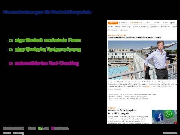 Beispiele für Web-basierte Informationssysteme Herausforderungen für Nachrichtenportale