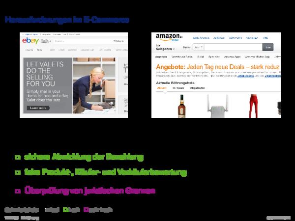 Beispiele für Web-basierte Informationssysteme Herausforderungen im E-Commerce