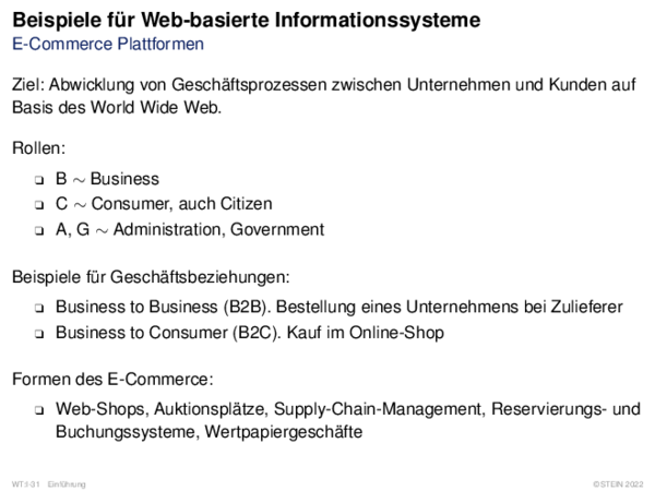 Beispiele für Web-basierte Informationssysteme E-Commerce Plattformen