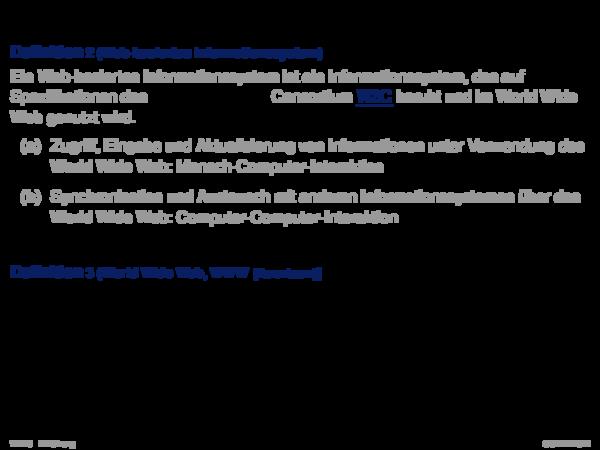 Begriffsklärung Definition 2 (Web-basiertes Informationssystem